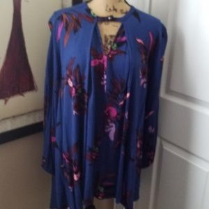 Free People Electric Orchid Print Swing Tunic